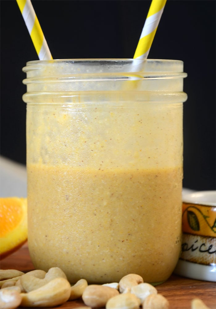 Vegan Orange Mango Recovery Smoothie from runningonrealfood.com #healthysmoothies #veganrecipes
