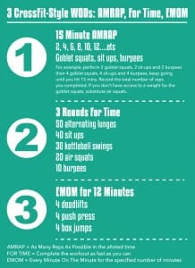 3 CrossFit-Style WODs: AMRAP, For Time and EMOM