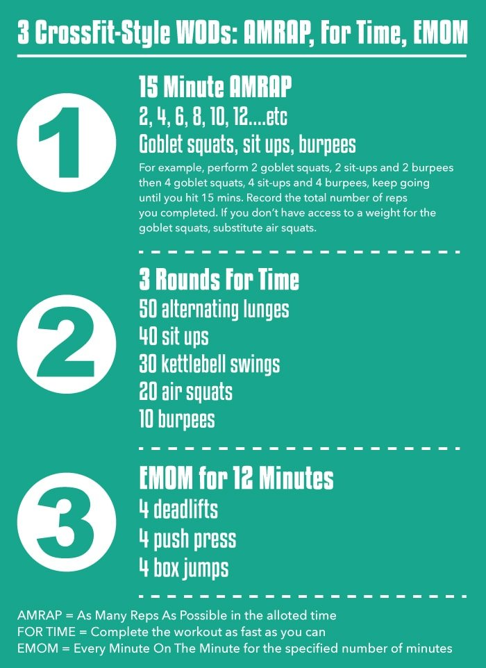 3 CrossFit Style WODs AMRAP For Time And EMOM