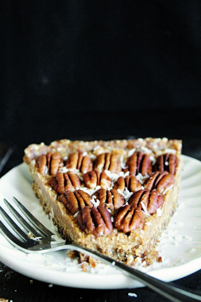 Raw Vegan Maple Pecan Pie made with Dates, Pecan and Coconut