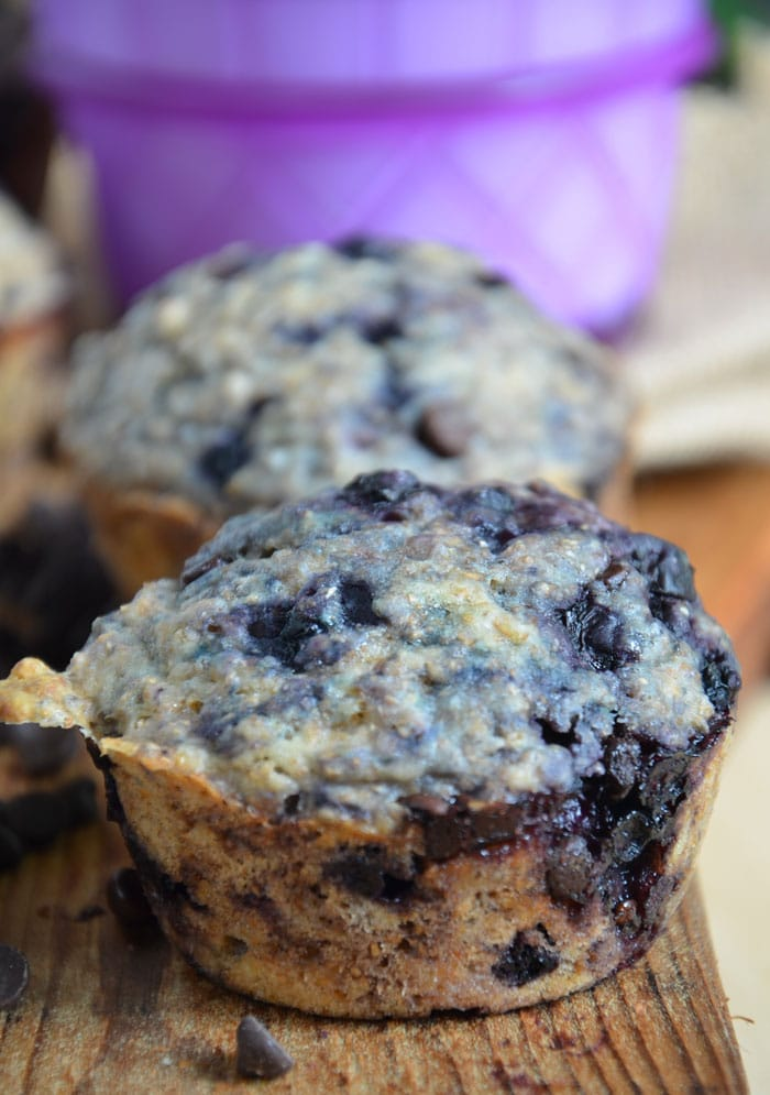 Vegan Blueberry Chocolate Chip Muffins #veganbaking #veganrecipes #veganmuffins