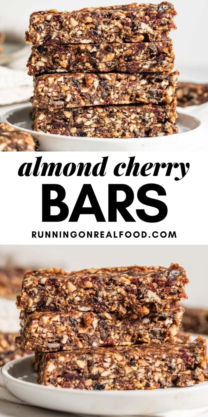 Pinterest graphic with an image and text for no-bake almond cherry pie bars.