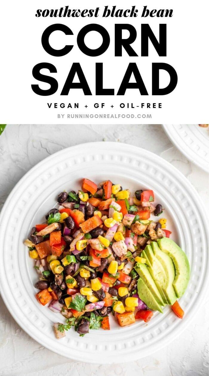 Pinterest graphic for black bean corn salad.