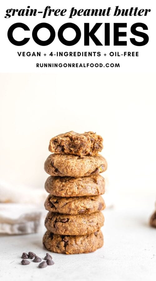 Pinterest graphic with an image and text for peanut butter cookies.