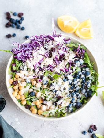 Vegan Chickpea Blueberry Salad - Running on Real Food