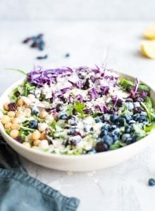 Vegan Chickpea Blueberry Salad Recipe - Running on Real Food