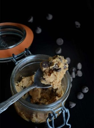 The Easiest Vegan Single-Serve Peanut Butter Chocolate Chip Cookie Dough - Just a few ingredients!