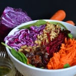Healthy Beet and Walnut Salad with Sweet Dill Dijon Vinaigrette #vegan #veganrecipes #vegansalads