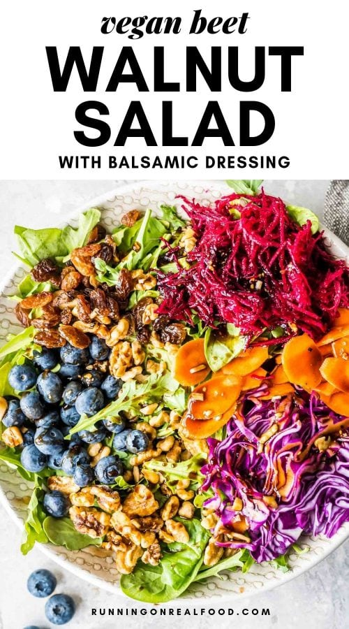 Pinterest graphic for beet walnut salad.