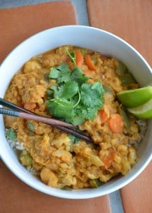 Thai Red Curry Lentils with Cauliflower and Carrot