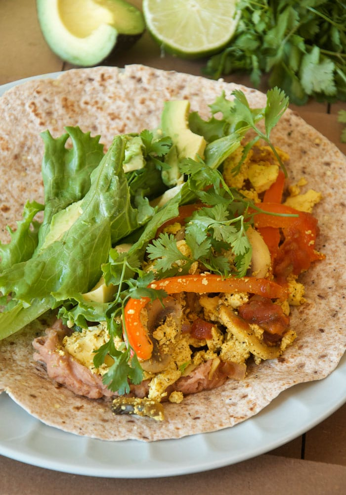 Healthy vegan breakfast burritos with tofu scramble