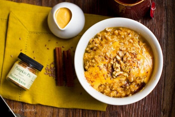 A bowl of steel cut pumpkin steel cut oats.