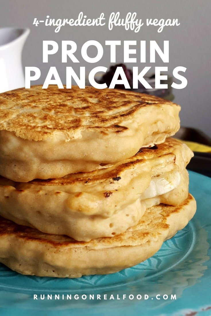 These easy, fluffy vegan protein pancakes require just 4-ingredients to make! This recipe is oil-free and can be sugar-free. Try it with your favourite protein!   #pancakes #veganpancakes #recipes #breakfastrecipes #proteinpowder #highprotein #proteinpancakes #veganfood #veganbreakfasts #pancakerecipes #breakfast #veganrecipes #food