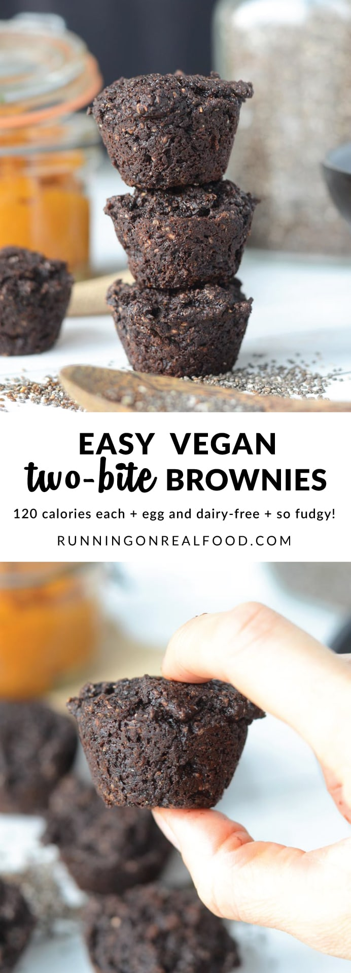 These tasty vegan two bite brownies have a secret healthy ingredient that keeps them moist! They're rich and dense with an amazing fudgy texture, no eggs or dairy needed!
