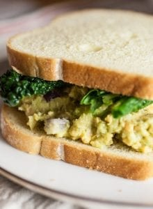 Healthy Vegan Tuna Salad Sandwich with Chickpea and Avocado