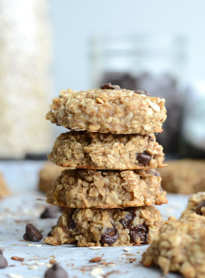 Flourless Peanut Butter Banana Oatmeal Cookies - Vegan