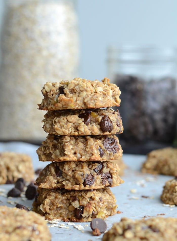 Flourless Peanut Butter Banana Oatmeal Cookies - Vegan