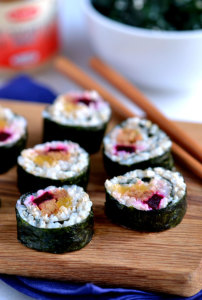 Sweet Potato, Beetroot and Ginger Tempeh Sushi