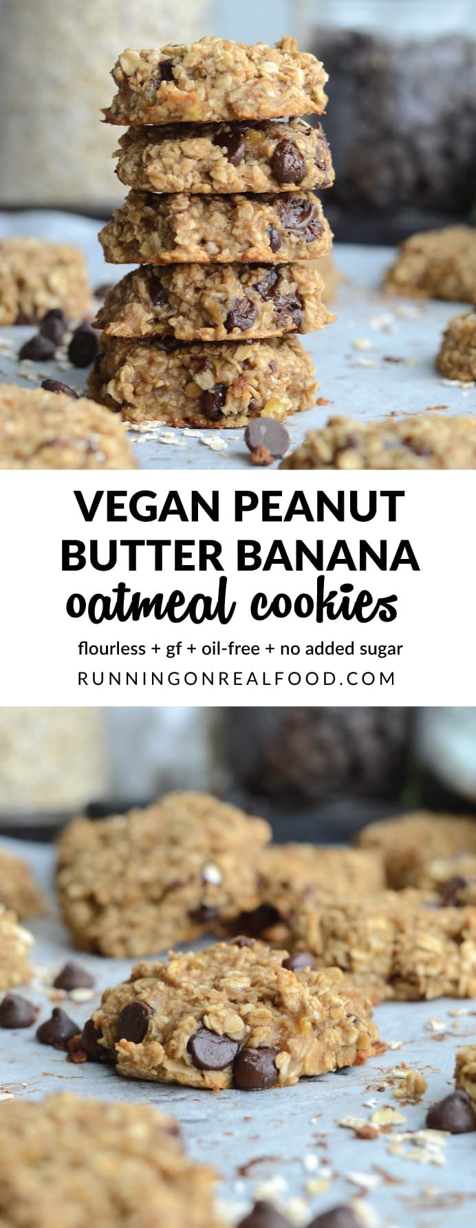 Flourless Peanut Butter Banana Oat Cookies - Just 3 Ingredients!