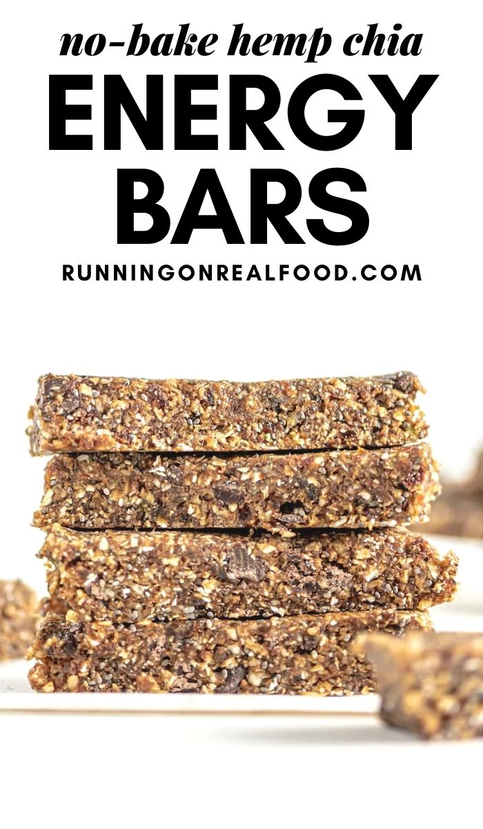 Pinterest graphic with an image and text for hemp and chia seed energy bars.