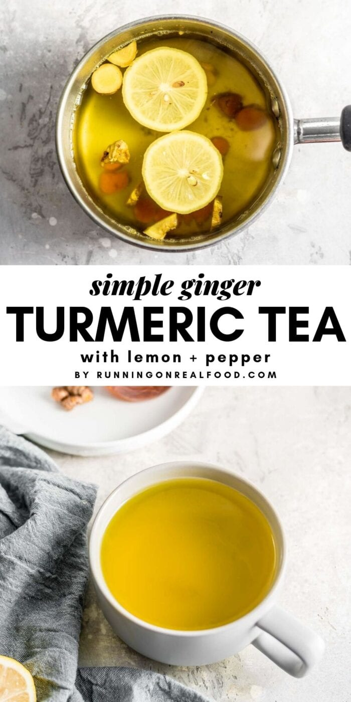 Pinterest graphic with text overlay for simple ginger turmeric tea with lemon and pepper.