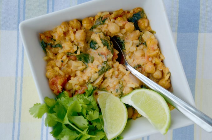 Curried Coconut Chickpeas and Spinach - An Easy, Healthy, Vegan One-Pot Meal!