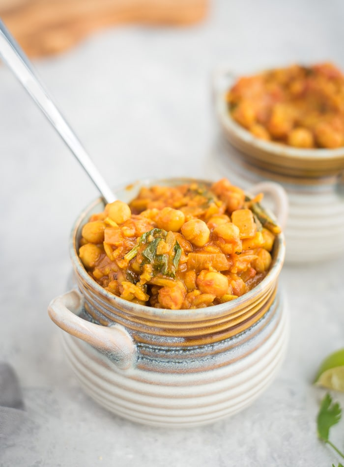 Chickpea Coconut Curry Recipe with Spinach - Running on Real Food