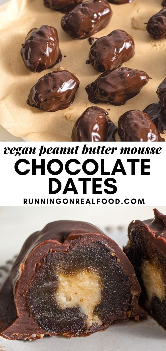 Pinterest graphic with an image and text for peanut butter mousse stuffed dates.