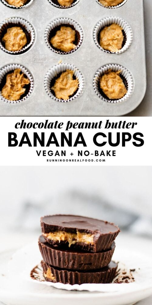 Pinterest graphic with text overlay and image of chocolate peanut butter banana cups.