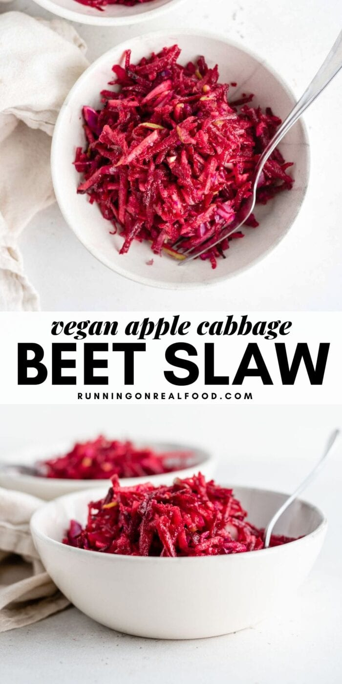 Pinterest graphic with an image and text for raw beet apple slaw.