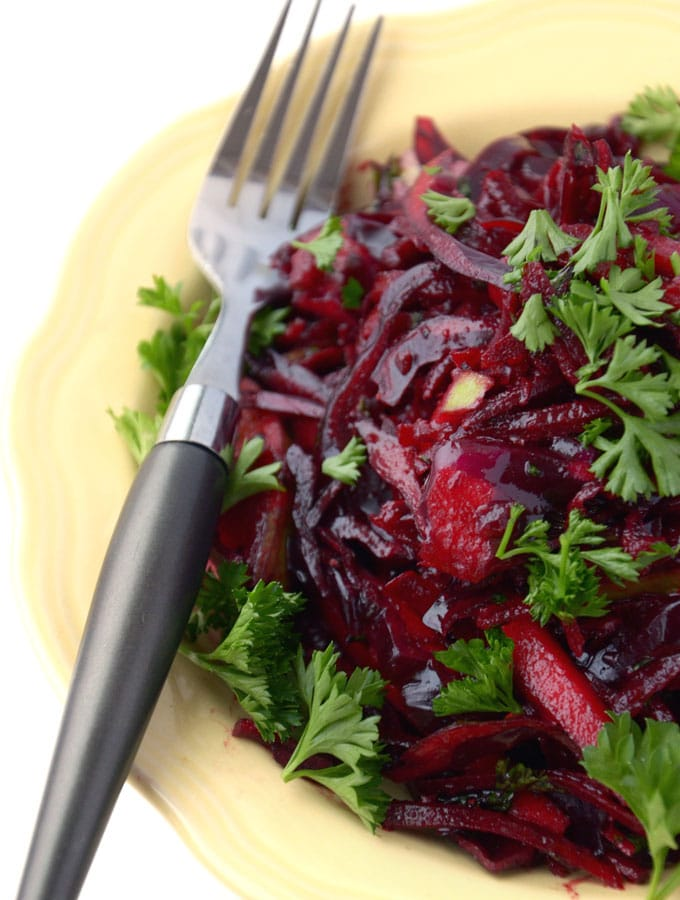 Beautiful Raw Beet and Apple Slaw