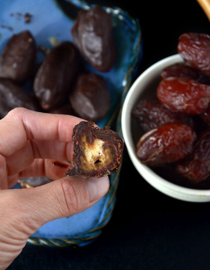 Vegan Dark Chocolate Covered Peanut Butter Mousse Stuffed Dates