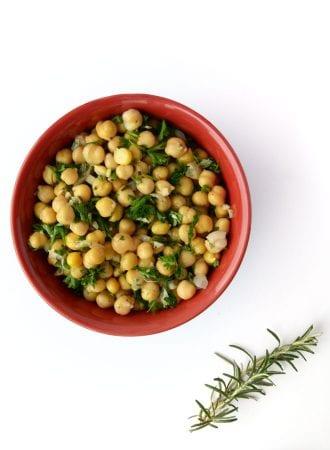 Rosemary Lemon Garlic Chickpea Salad - So fresh and tasty! Vegan, Gluten-Free, Ready in 10 Minutes