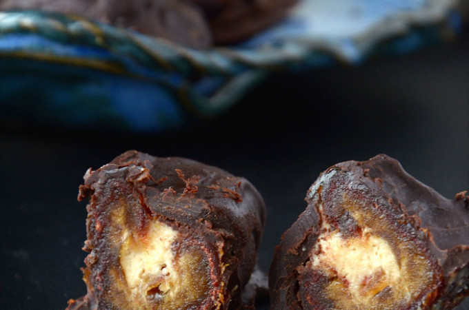 Dark Chocolate Covered Peanut Butter Mousse Stuffed Dates