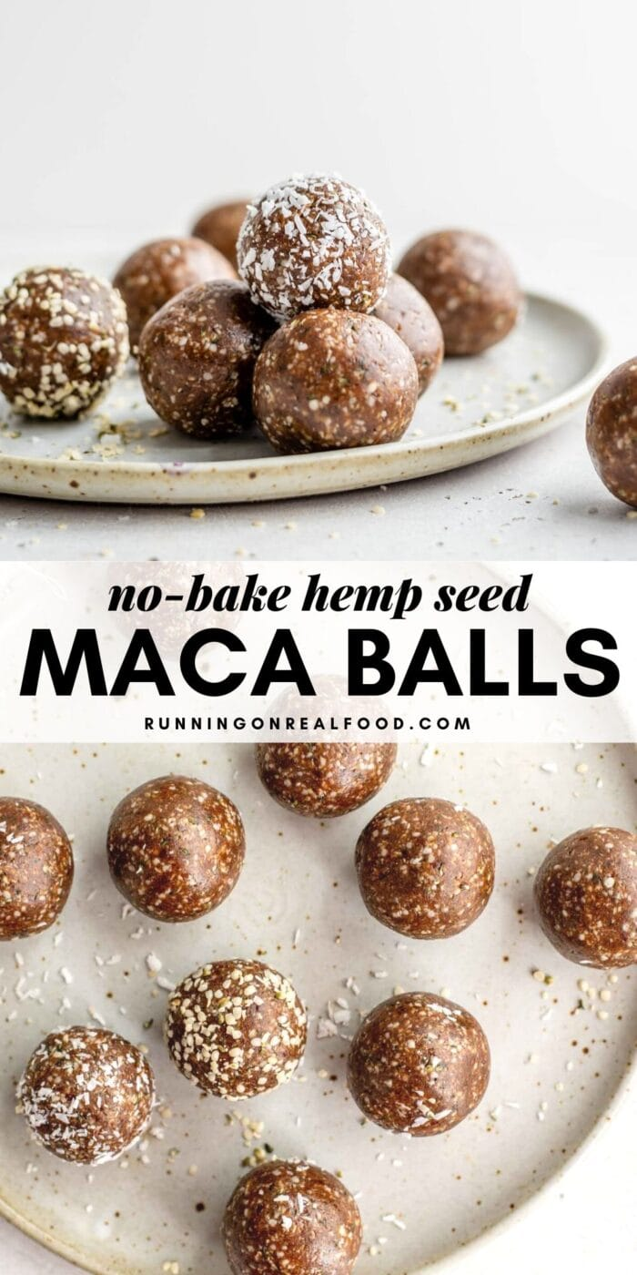 Pinterest graphic with an image and text for no-bake hemp seed maca balls.
