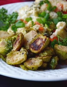 Maple Dijon Roasted Brussels + Creamy Dijon Vegetable Bake