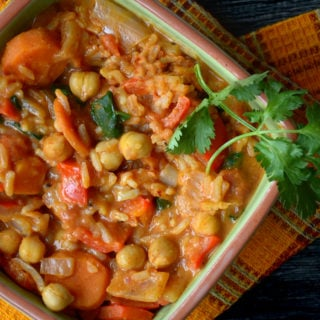 Vegan Spicy Peanut Stew with Rice and Chickpeas