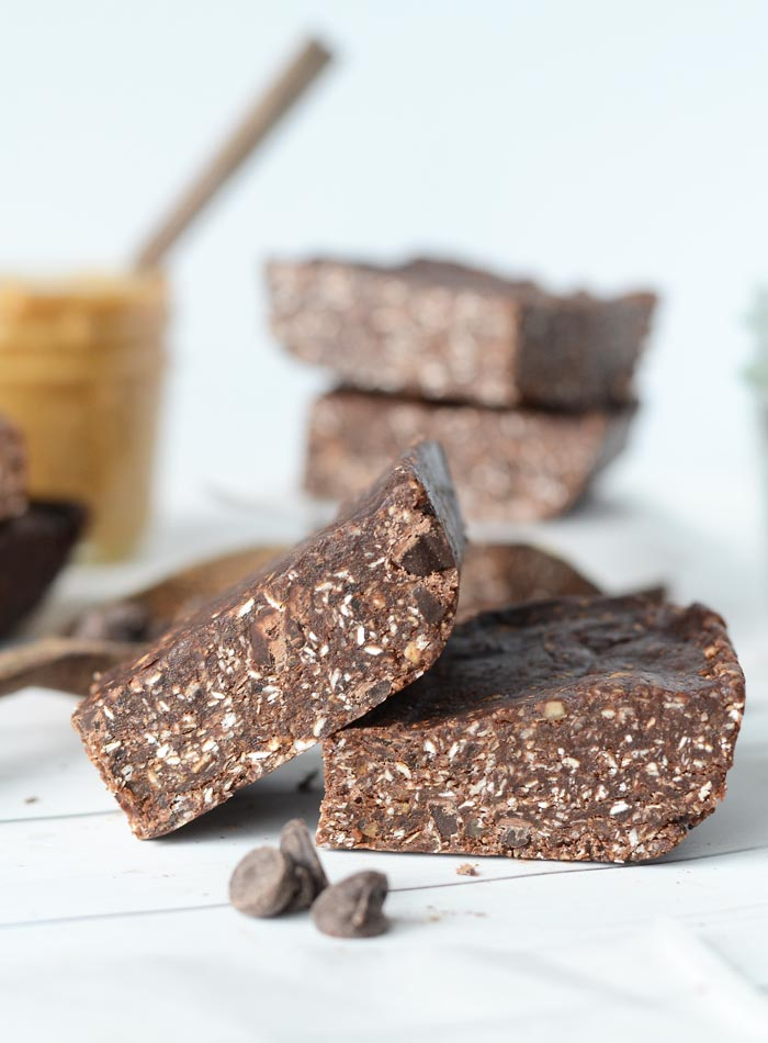 No-Bake Chocolate Peanut Butter Bars - Vegan + No Refined Sugar + Oil-Free + Gluten-Free