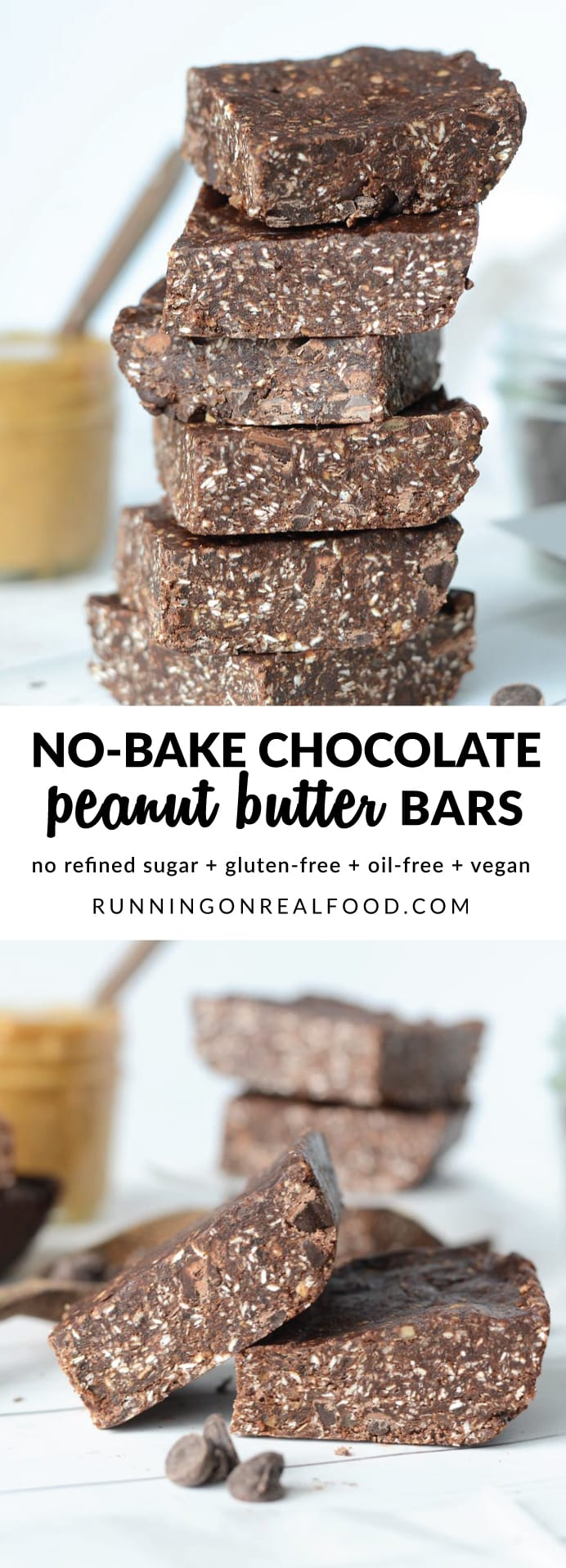 These delicious and addictive no-bake chocolate peanut butter bars are easy to make in minutes with just 6 basic ingredients. No refined sugar, vegan, oil-free and gluten-free.
