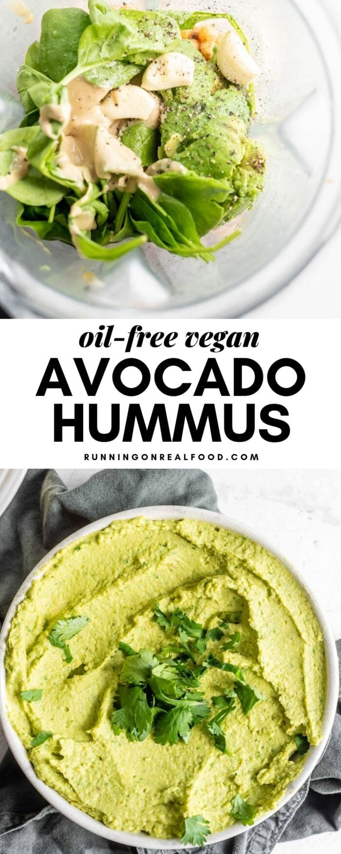 Bowl of avocado hummus with a text overlay for Pinterest.