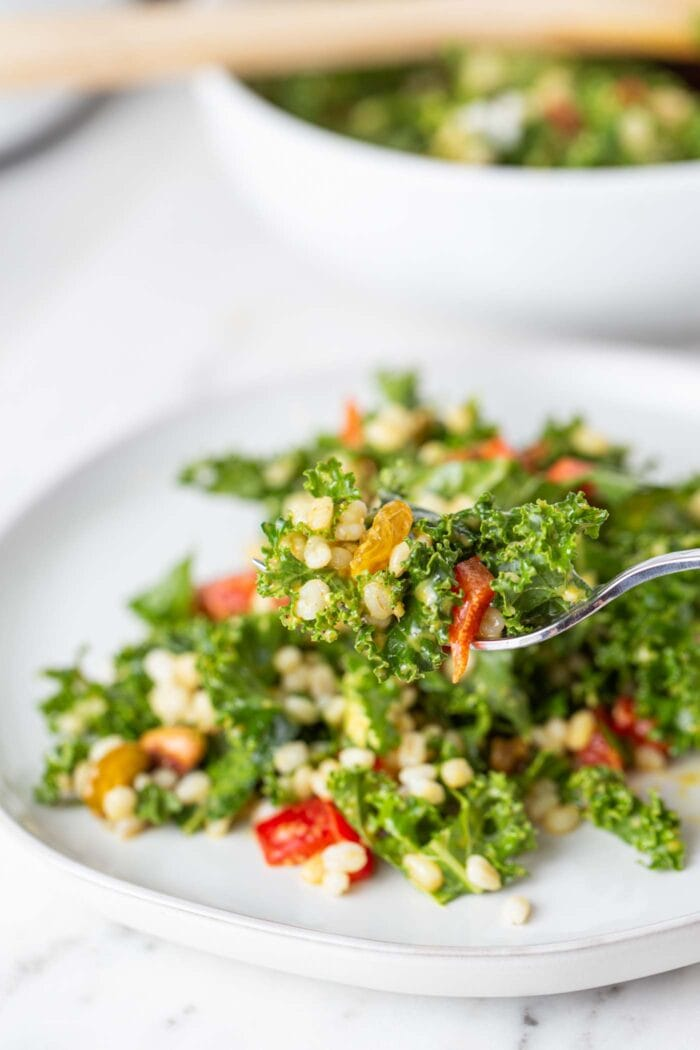 A plate of kale salad with bell peppers, pistachios and barley.