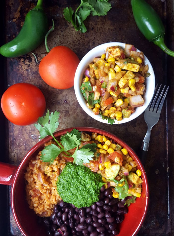 Vegan Burrito Bowls with Chimmichurri Sauce