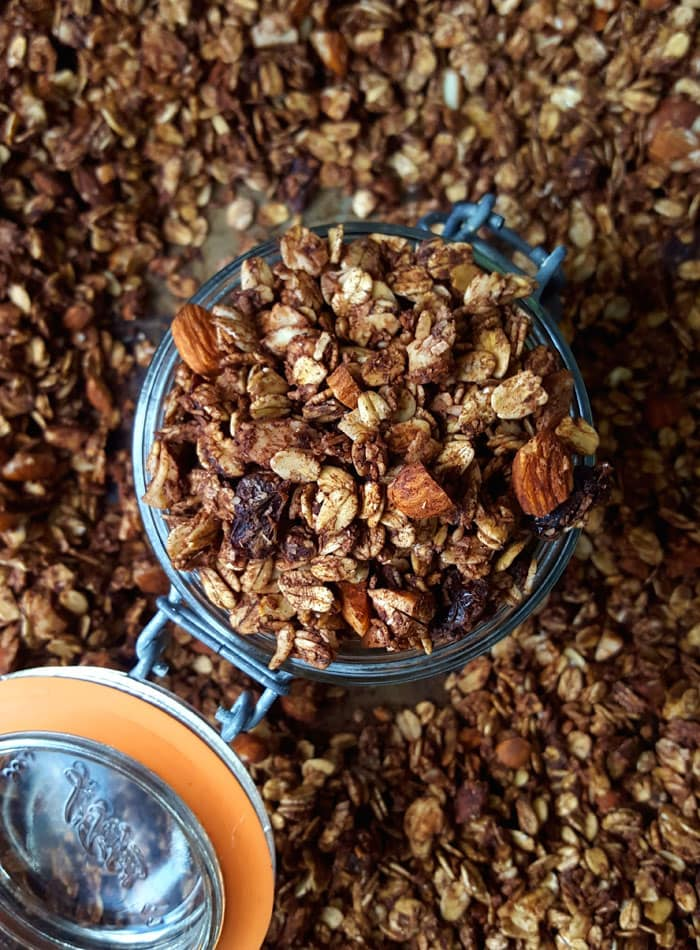 Homemade Healthy Vegan Mocha Granola - Try it in a coconut yogurt and strawberry parfait!