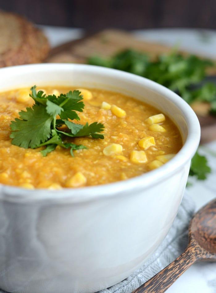 Slow Cooker Sweet Potato Corn Chowder - Vegan, Healthy, Oil-Free