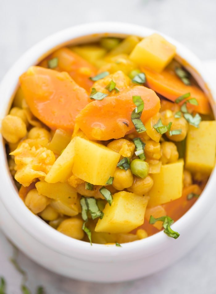 Vegan Chickpea Potato Stew Recipe - Running on Real Food