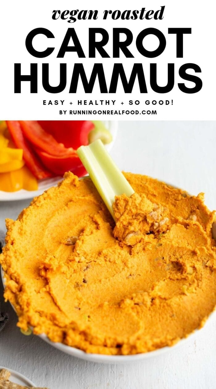 Pinterest graphic with text overlay for roasted carrot hummus.