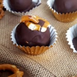 Dark Chocolate-Covered Mocha Truffles with Pretzels - Vegan, No-Bake, Only a Few Ingredients