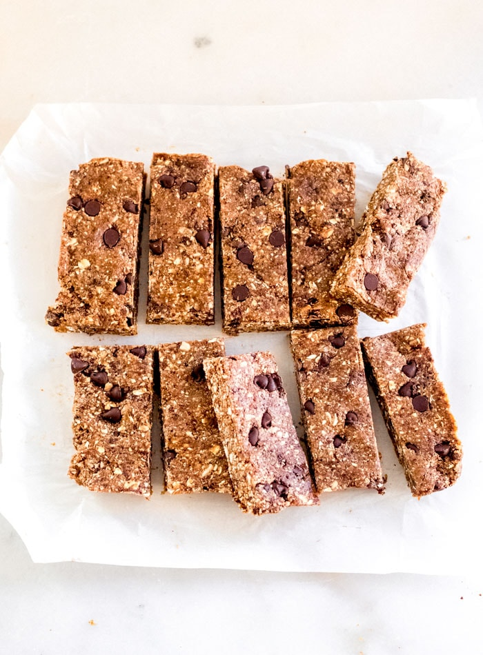 Healthy No-Bake Granola Bars with Chocolate Chips and Tahini - Running on Real Food