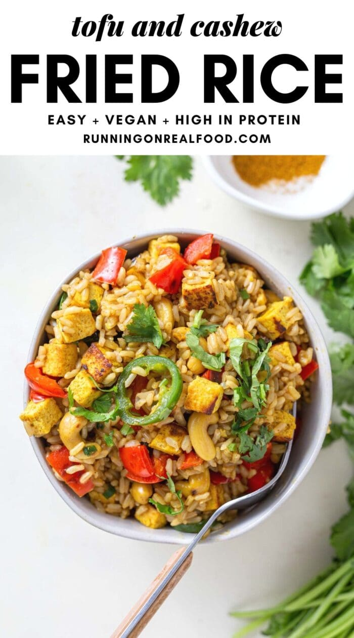 Pinterest graphic with an image and text for tofu cashew fried rice.