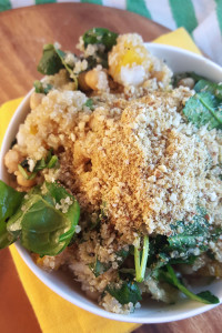 Squash, Spinach and Quinoa Salad with Vegan Parmesan
